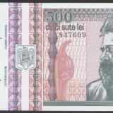 500 lei 1992 filigran profil, fir subtire, UNC - Bancnota romaneasca