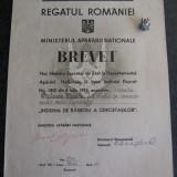 Brevet + Miniatura ( argint ) Insigna Cercetasilor din Razboiul 1916 - 1919, model Carol 2 . - Ordin/ Decoratie