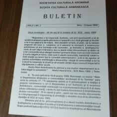 BULETIN SOCIETATEA CULTURALA AROMANA ANUL 1, NR 3, 2000. AROMANI - Carte Istorie