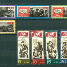 Germania DDR 1967. Congresul Partidului socialist unitar german - serie de 8 val dantelata - nestampilata - Timbre straine