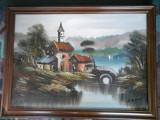 Peisaj - ULEI pe panza (semnat A de Rosa), Natura, Impresionism