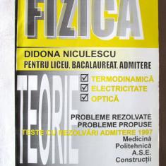 COMPLEMENTE DE FIZICA pentru LICEU, BACALAUREAT, ADMITERE, D. NiculescU, 1997 - Teste Bacalaureat