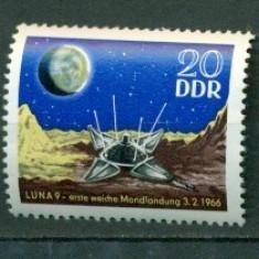 Germania DDR 1966. Aselenizare pe Luna - nestampilat - dantelat - Timbre straine