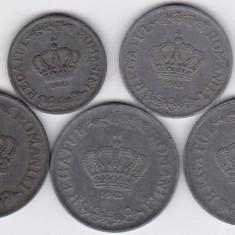 2) Serie COMPLETA monede zinc 1941-1944: 2 lei 1941 5 lei 1942 si 20 lei 1942 1943 1944 - Moneda Romania