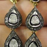 Cercei aur stil victorian 14K / argint, 6.74 ctw, 20 gr, 66 diamante superbi - Cercei cu diamante
