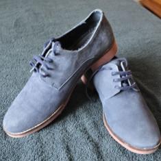 Pantofi Zara Marimea 42 Piele Intoarsa Albastrii - Pantof barbat