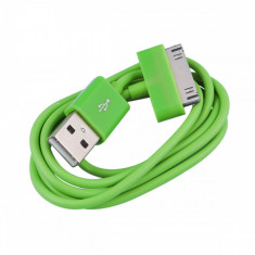 Cablu USB iPhone 2G 3G 3GS 4 4S iPod Nano Classic Touch Green - Cablu de date, iPhone 4/4S