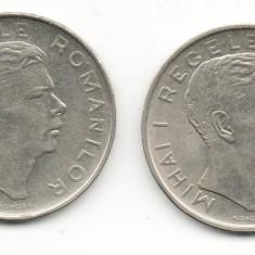 2 monede 100 Lei 1944 Romania Regele Mihai varianta cu pavilion ureche neted si normal - Moneda Romania