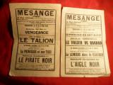 2 Programe Cinema Mesange 1930 cu Rudolf Valentino , Lon Chaney, s.a.