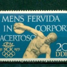 Germania DDR 1971. Aniversare Comitetul National Olimpic -nestampilat - dantelat - Timbre straine