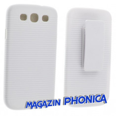 Husa toc plastic cu prindere curea Samsung Galaxy S3 I9300 + folie ecran - Husa Telefon Samsung, Alb