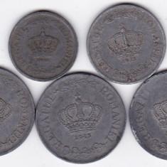 8) LOT serie COMPLETA 1941-1944: 2 lei 1941 5 lei 1942 si 20 lei 1942 1943 1944 - Moneda Romania