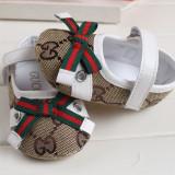 PANTOFIORI ELEGANTI bej & alb, fetite 0-12 luni (botez, mot...) - Pantofi copii, Marime: 18, Fete