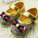 PANTOFIORI ELEGANTI bej cu auriu, fetite 0-18 luni (botez, mot..) - Pantofi copii, Marime: 19, Fete