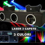 PROMOTIE ! SUPER LASER 3 CAPETE ROSU+VERDE+ALBASTRU, LASER DE PUTERE, DISCO, CLUB, DJ - Laser lumini club