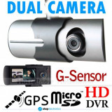 Camera Video DVR Auto R300 HD, Dubla Lentila + GPS,Card 16GB gratuit, Garantie!