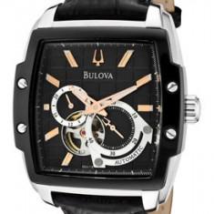Ceas Bulova Automatic 98A118 - Ceas barbatesc Bulova, Elegant, Mecanic-Automatic, Inox, Piele, Rezistent la apa