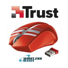 Mouse Wireless Trust - Rosu - design unic, micro receiver USB