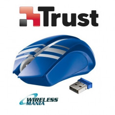 Mouse Wireless Trust - Albastru - design unic, micro receiver USB