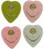Cumpara ieftin 1964 Tonga serie 4v. pe foita aur, tipar embos Asociația Femeilor Regina Salote