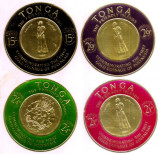 Cumpara ieftin 1963-1964 Tonga timbre airmail pe foita aur, embos serie 4v. circulare 80mm