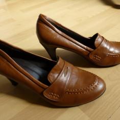 Pantofi Bonprix Collection, piele, cusuti manual; marime 41 (26.6 cm talpic) - Pantof dama, Culoare: Din imagine, Cu toc