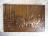 TABLOU BASORELIEF  CARUTA CU CAI PRIN PADURE 39 X 26 CM