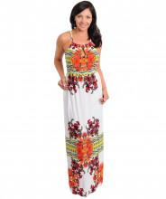 123123Rochie Maxi, Glamour, Crem, Imprimeu Floral, Xl, 2Xl, 3Xl