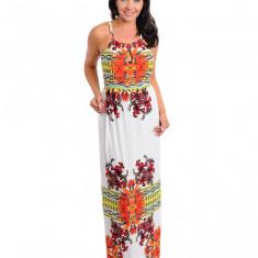 Rochie Maxi, Glamour, Crem, Imprimeu Floral, XXL, XXXL, Multicolor, Cu bretele