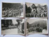 REDUCERE 40 LEI! 4 FOTOGRAFII WW II CU DEFILAREA OFITERILOR GARNIZOANEI PREDEAL 1942