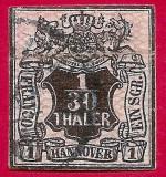 1851 facsimil Fournier HANOVRA 1:30 thaler, Germania, Stampilat
