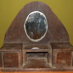 RARĂ! JUCĂRIE DE LEMN VECHE DIN ANII 1900, OGLINDĂ CU DULĂPIOARE, FĂCUTĂ MANUAL!
