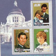 BLOC TIMBRE DIANA SI CHARLES  SPECIMEN 1981