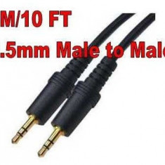 Cablu extensie jack 3.5mm tata - tata casti stereo headphones mp3 jack 3m 3 metri cablu audio 3.5 mm, Cabluri jack