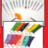 Vopsele acrilice+15 pensule pt unghii cu modele 3D - Model unghii