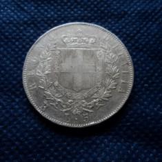 M. 5 lire 1877 R Italia, argint, Europa