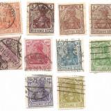 1905 GERMANIA filigran grătar 10 timbre circulate Sc. #82 - 91 = 13 $, Oameni, Stampilat