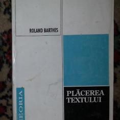 R Barthes Placerea textului Ed. Echinox 1994 - Eseu