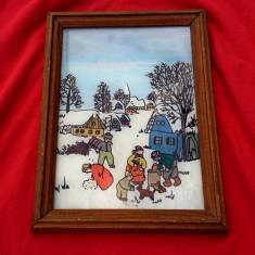 Pictura pe sticla - Peisaj Iarna !!! - Pictor roman, Peisaje, Altul