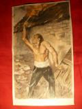 Acuarela veche semnata - Incendiatorul ,dim. 17,2 x 28,8 cm