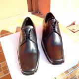 Pantofi barbatesti din piele, Marime: 39, 40, 41, 42, Culoare: Negru, Piele naturala