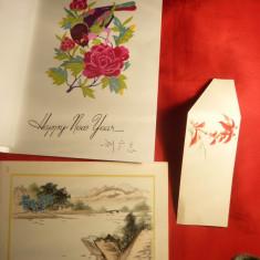 2 Ilustrate acuarela + 23 buc decupaje manuale China cca.1970 - Arta din Asia
