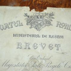 BREVET ACORDAT UNUI CAPORAL IN ANUL 1913 DIN ORDINUL REGELUI CAROL I