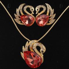 New! Set de bijuterii placat Aur 18k, Cristale Austria : cercei, lantisor - Set Swarovski