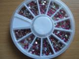 Set / Rotita Carusel strasuri rotunde roz pentru unghii nail art manichiura