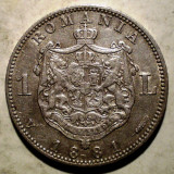 R.059 ROMANIA CAROL I 1 LEU 1881 ARGINT 4,98g