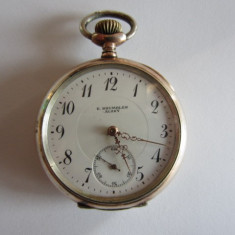 CEAS ELVETIAN DE BUZUNAR ANTIC DIN ARGINT MECANIC - REVUE THOMMEN SA - Ceas de buzunar vechi