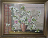 Tablou-Flori  de ciresi-Semnat - 80x60 cm Panza cu rama - Pictura Ulei pe panza