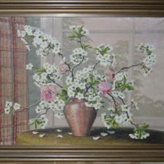 Tablou-Flori de ciresi-Semnat - 80x60 cm Panza cu rama - Pictura Ulei pe panza - Tablou autor neidentificat