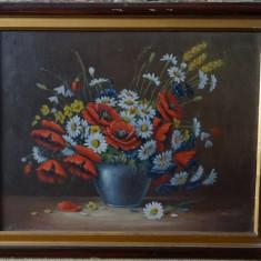 Tablou original Kusovsky-Flori in vaza-Ulei pe carton,cu rama-dim 55x45 cm